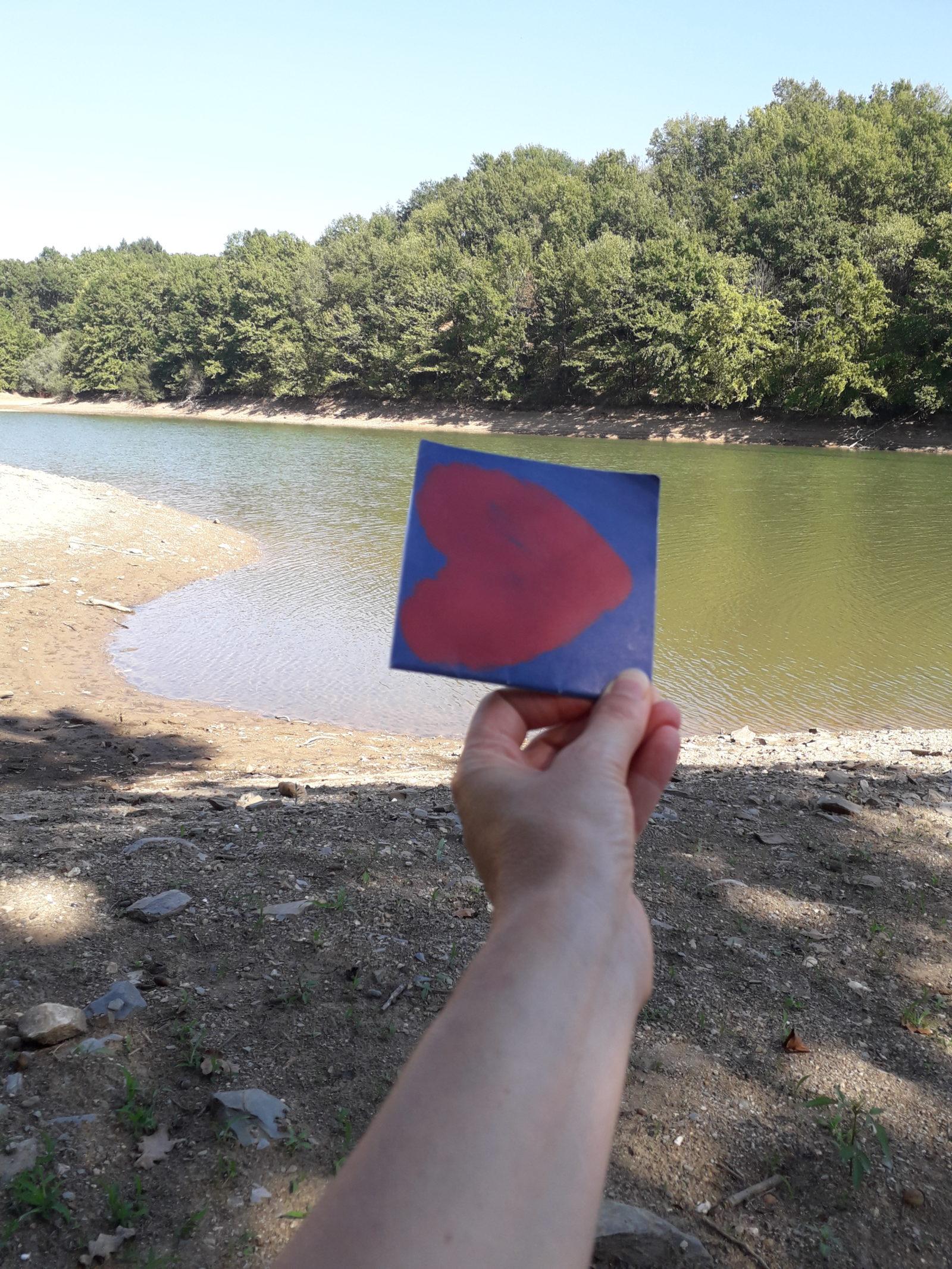 Pareidolie un coeur sur les rives d'un lac
