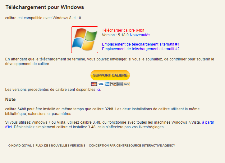 Calibre pour Windows 64 bits